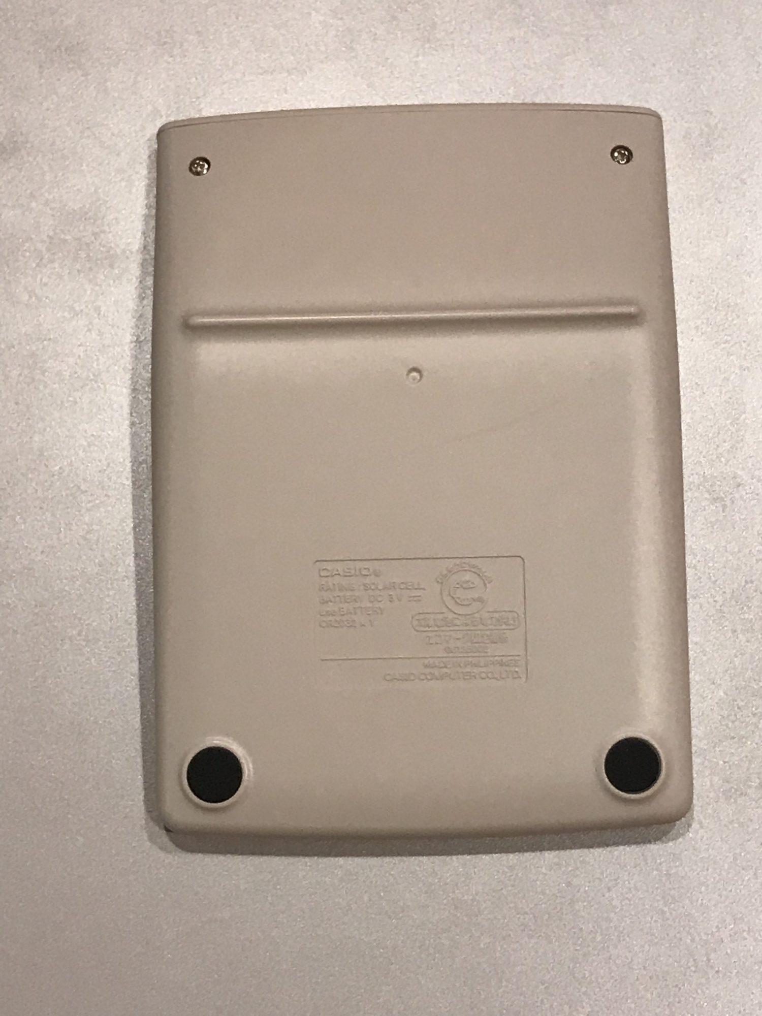 カシオ製電卓 MW−12A裏側
