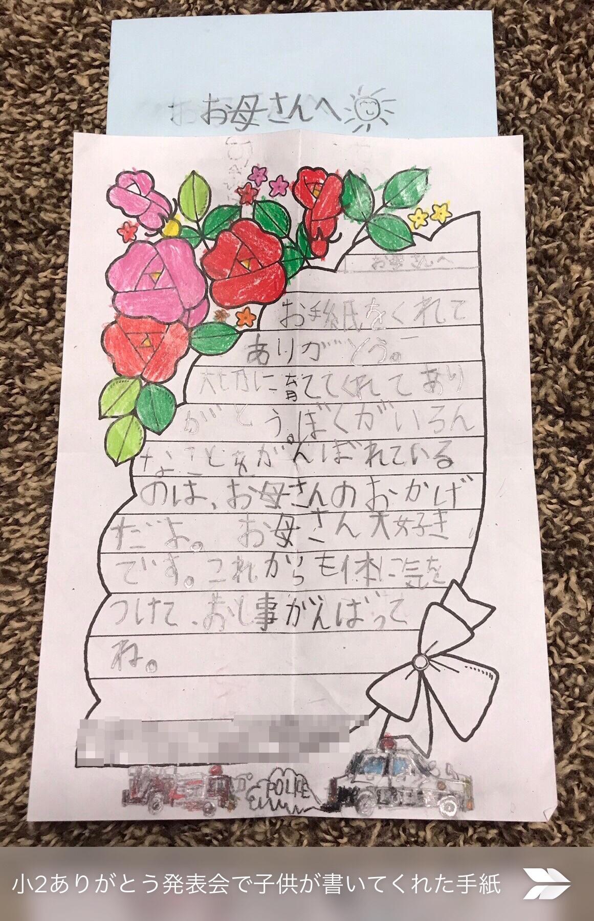 授業参観で子どもからもらった手紙