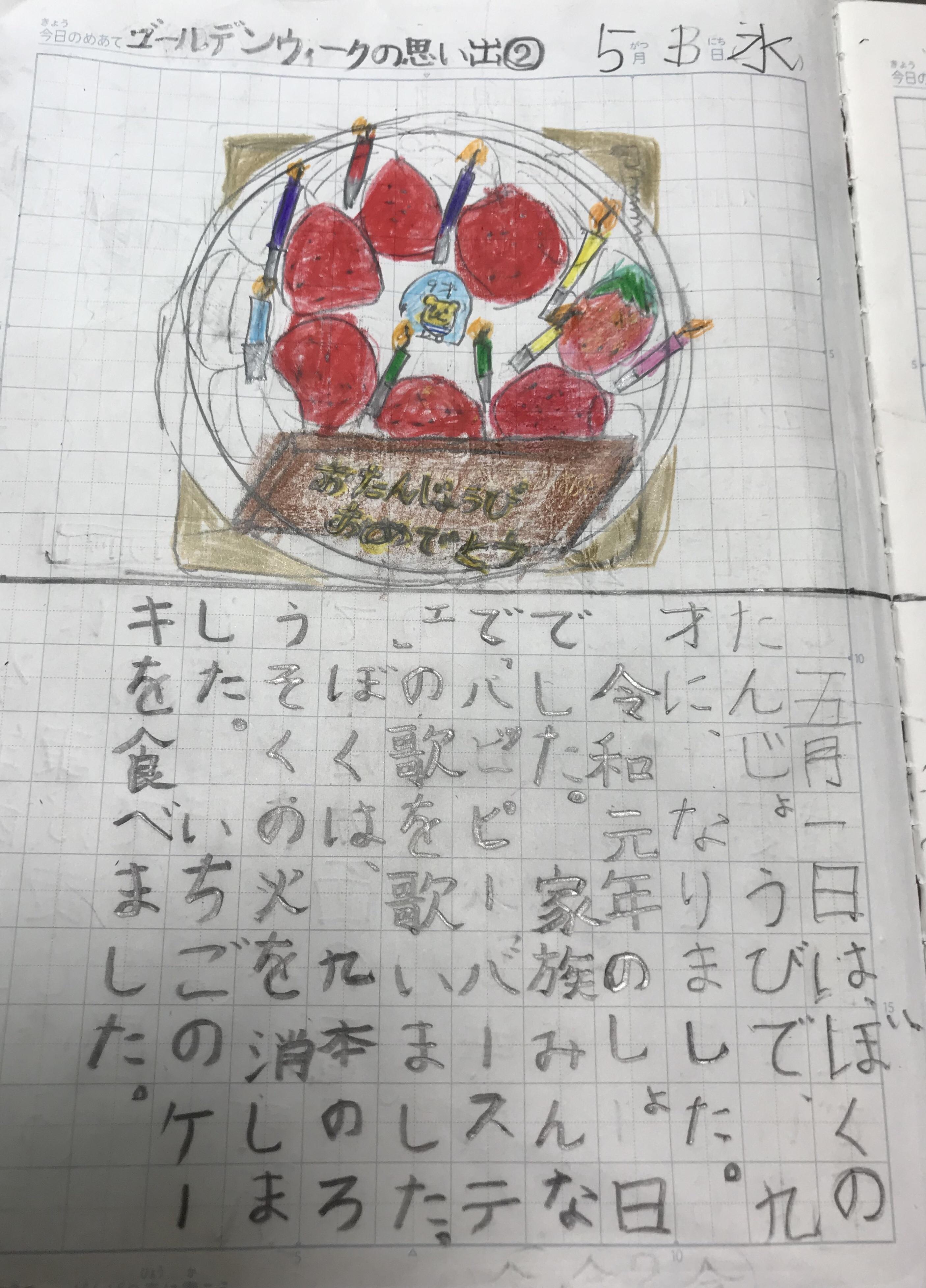 誕生日ケーキ 自主学習 絵日記