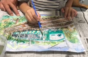 夏休みの宿題で絵の色塗り